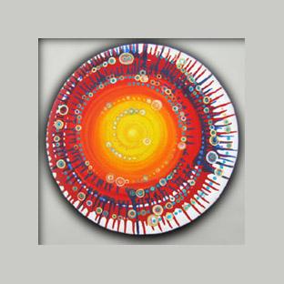 peintures les points ronds sur toiles rondes